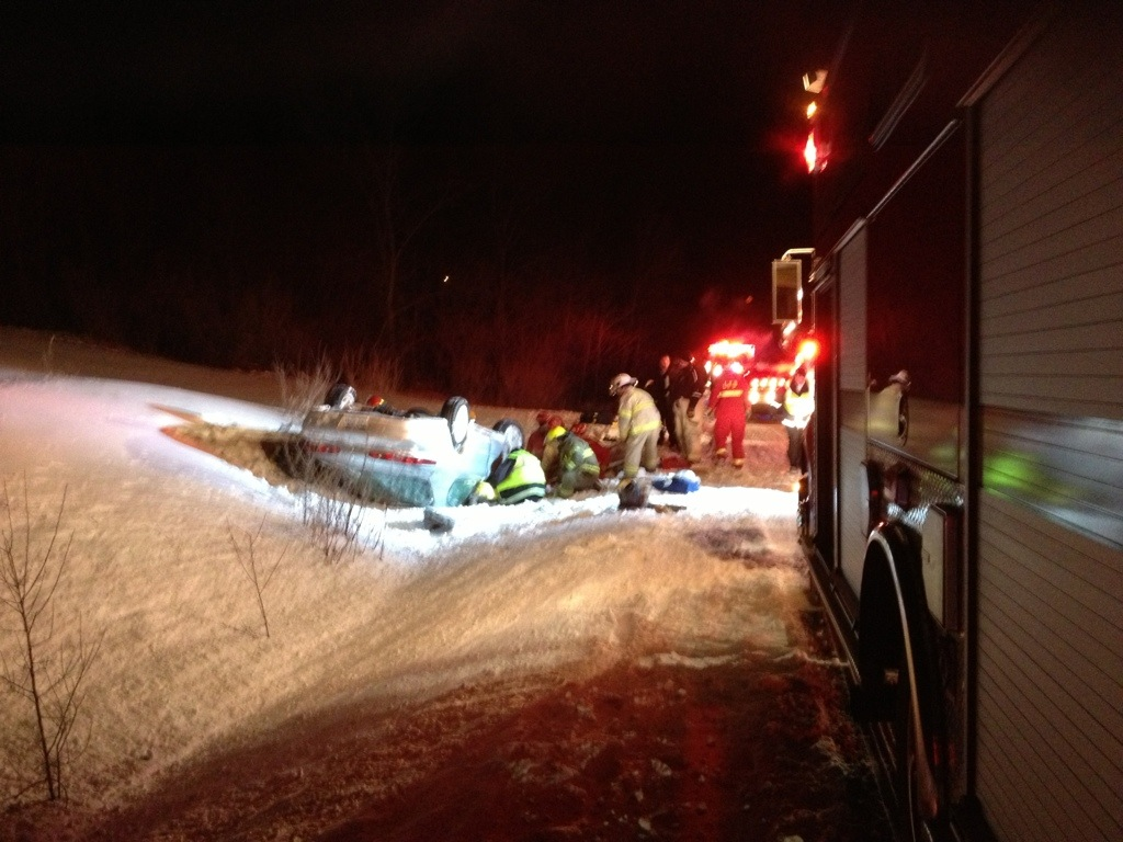 1 airlifted after rollover