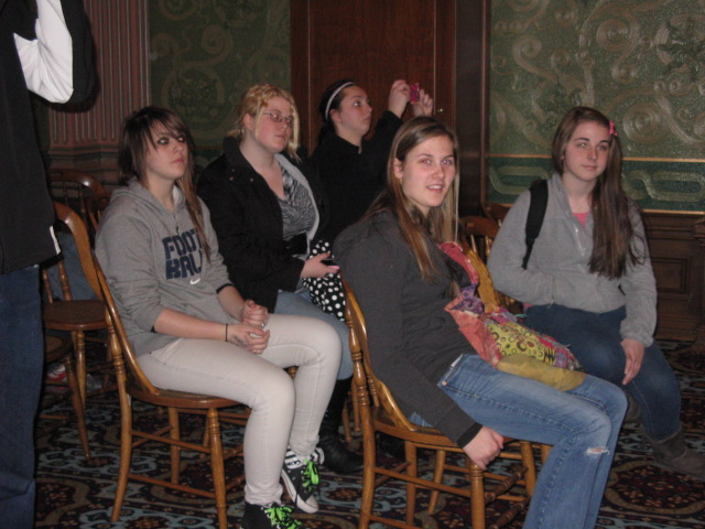 This picture was taken in the orginal Supreme Court room in the Capitol: Autumn Sorenson, Lysney Chlebana, Alexa McMellen, Brianna Hays