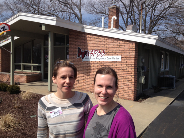 Director Tracey Chapman, right, and Clinical Services Director Amy Pider in front of the center on Tinkham Ave.